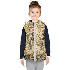 Mystery Pattern Pyramid Peru Aztec Font Art Drawing Illustration Design Text Mexico History Indian Kid s Puffer Vest by Celenk
