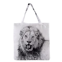 Lion Wildlife Art And Illustration Pencil Grocery Tote Bag by Celenk
