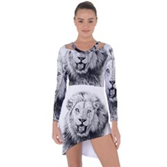 Lion Wildlife Art And Illustration Pencil Asymmetric Cut Out Shift Dress by Celenk