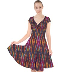 Thai Silk Cap Sleeve Front Wrap Midi Dress