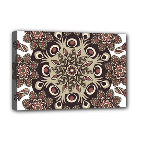 Mandala Pattern Round Brown Floral Deluxe Canvas 18  X 12   by Celenk
