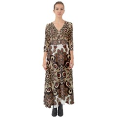 Mandala Pattern Round Brown Floral Button Up Boho Maxi Dress