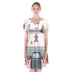 Hilarious Holidays  Short Sleeve V Neck Flare Dress by Valentinaart