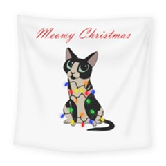 Meowy Christmas Square Tapestry (large) by Valentinaart