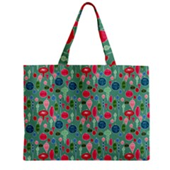 Vintage Christmas Hand Painted Ornaments In Multi Colors On Teal Zipper Mini Tote Bag by PodArtist