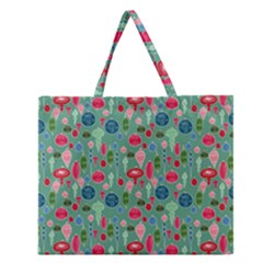 Vintage Christmas Hand Painted Ornaments In Multi Colors On Teal Zipper Large Tote Bag by PodArtist