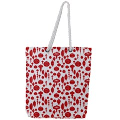Vintage Christmas Ornaments In Red On White Full Print Rope Handle Tote (large)