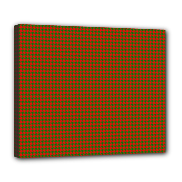 Classic Christmas Red and Green Houndstooth Check pattern Deluxe Canvas 24  x 20