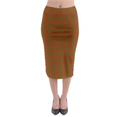Classic Christmas Red And Green Houndstooth Check Pattern Midi Pencil Skirt by PodArtist