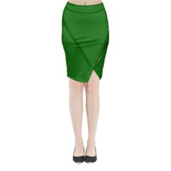 Mini Red Dots On Christmas Green Midi Wrap Pencil Skirt