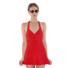 Small Christmas Green Polka Dots On Red Halter Dress Swimsuit