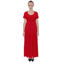 Small Christmas Green Polka Dots On Red High Waist Short Sleeve Maxi Dress