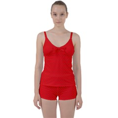 Small Christmas Green Polka Dots On Red Tie Front Two Piece Tankini