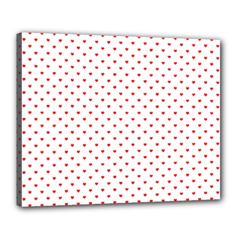 Small Christmas Red Polka Dot Hearts On Snow White Canvas 20  X 16