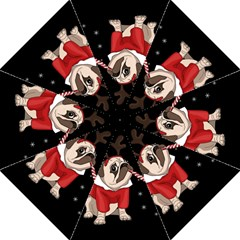 Pug Xmas Folding Umbrellas by Valentinaart