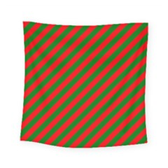 Red And Green Christmas Candycane Stripes Square Tapestry (small) by PodArtist