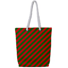 Red And Green Christmas Candycane Stripes Full Print Rope Handle Bag (small)