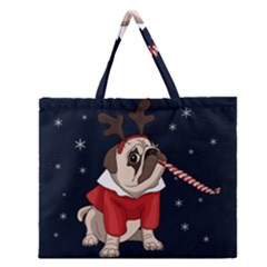 Pug Xmas Zipper Large Tote Bag by Valentinaart
