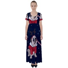 Pug Xmas High Waist Short Sleeve Maxi Dress