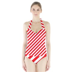 Christmas Red And White Candy Cane Stripes Halter Swimsuit