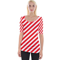 Christmas Red And White Candy Cane Stripes Wide Neckline Tee