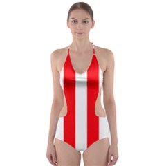 Wide Red And White Christmas Cabana Stripes Cut Out One Piece Swimsuit