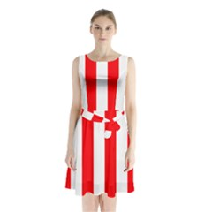 Wide Red And White Christmas Cabana Stripes Sleeveless Waist Tie Chiffon Dress
