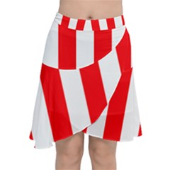 Wide Red And White Christmas Cabana Stripes Chiffon Wrap