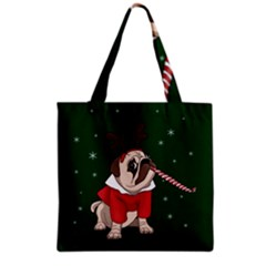 Pug Xmas Grocery Tote Bag by Valentinaart