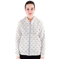 Gold Scales Of Justice On White Repeat Pattern All Over Print Women s Zipper Hoodie by PodArtist