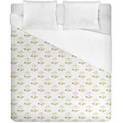 Gold Scales Of Justice On White Repeat Pattern All Over Print Duvet Cover (california King Size) by PodArtist