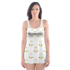 Gold Scales Of Justice On White Repeat Pattern All Over Print Skater Dress Swimsuit by PodArtist