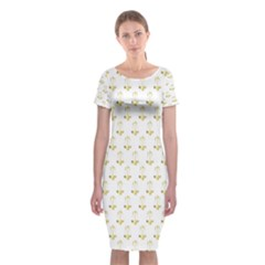 Gold Scales Of Justice On White Repeat Pattern All Over Print Classic Short Sleeve Midi Dress by PodArtist