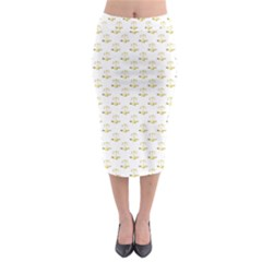 Gold Scales Of Justice On White Repeat Pattern All Over Print Midi Pencil Skirt by PodArtist