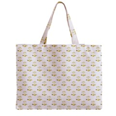 Gold Scales Of Justice On White Repeat Pattern All Over Print Zipper Medium Tote Bag by PodArtist