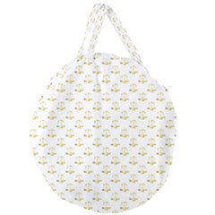 Gold Scales Of Justice On White Repeat Pattern All Over Print Giant Round Zipper Tote by PodArtist