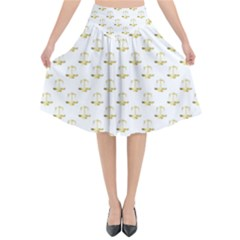 Gold Scales Of Justice On White Repeat Pattern All Over Print Flared Midi Skirt by PodArtist