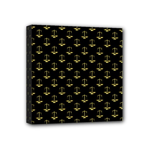 Gold Scales Of Justice On Black Repeat Pattern All Over Print  Mini Canvas 4  X 4  by PodArtist