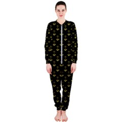 Gold Scales Of Justice On Black Repeat Pattern All Over Print  Onepiece Jumpsuit (ladies)  by PodArtist