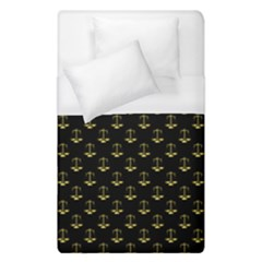 Gold Scales Of Justice On Black Repeat Pattern All Over Print  Duvet Cover (single Size) by PodArtist