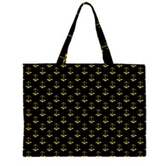 Gold Scales Of Justice On Black Repeat Pattern All Over Print  Zipper Large Tote Bag by PodArtist