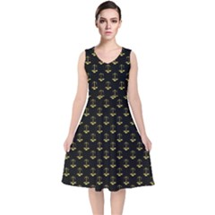 Gold Scales Of Justice On Black Repeat Pattern All Over Print  V Neck Midi Sleeveless Dress  by PodArtist