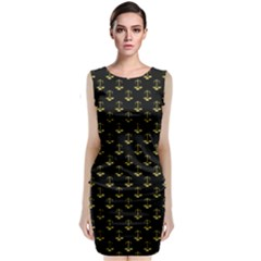 Gold Scales Of Justice On Black Repeat Pattern All Over Print  Classic Sleeveless Midi Dress by PodArtist