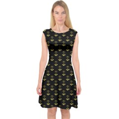 Gold Scales Of Justice On Black Repeat Pattern All Over Print  Capsleeve Midi Dress by PodArtist