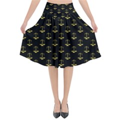 Gold Scales Of Justice On Black Repeat Pattern All Over Print  Flared Midi Skirt by PodArtist
