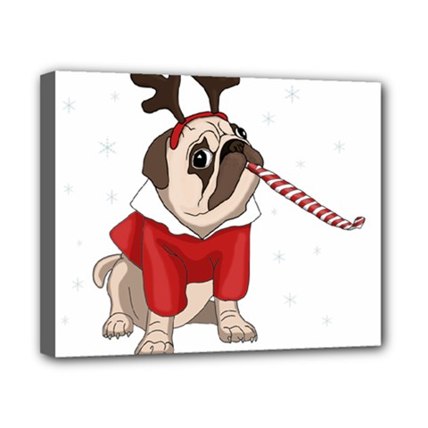 Pug Xmas Canvas 10  X 8  by Valentinaart