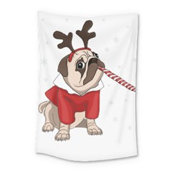 Pug Xmas Small Tapestry by Valentinaart