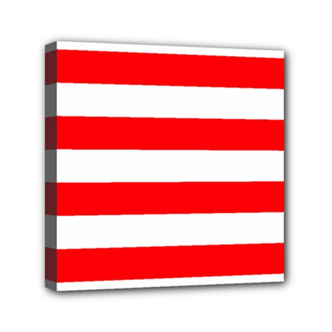 Christmas Red And White Cabana Stripes Mini Canvas 6  X 6  by PodArtist