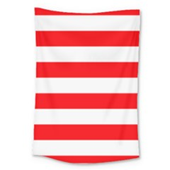 Christmas Red And White Cabana Stripes Large Tapestry by PodArtist