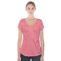 Christmas Red And White Chevron Stripes Short Sleeve Front Detail Top